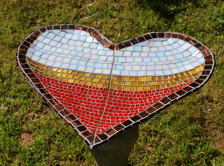 One of my heart bird baths for the exhibition