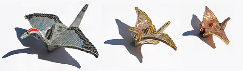 Three Origami Mosaic Cranes