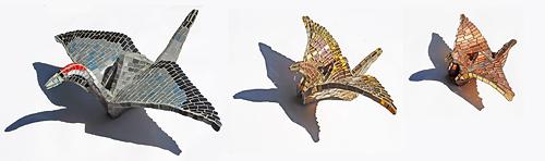 Three Origami Mosaic Cranes