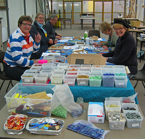 paving stone mosaic workshop at Somerset Crafts