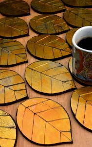 Golden Leaf coasters