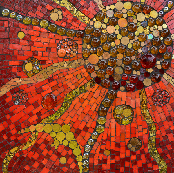 The Enchanter (glass tile, gold leaf glass, millefiori, hand gilded metal leaf glass, glass rounds, metal leaf on board)