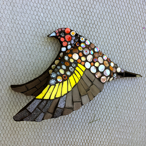flying goldfinch wall sculpture