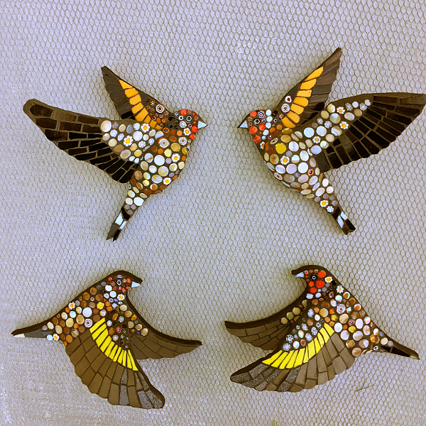 mosaic flying goldfinches