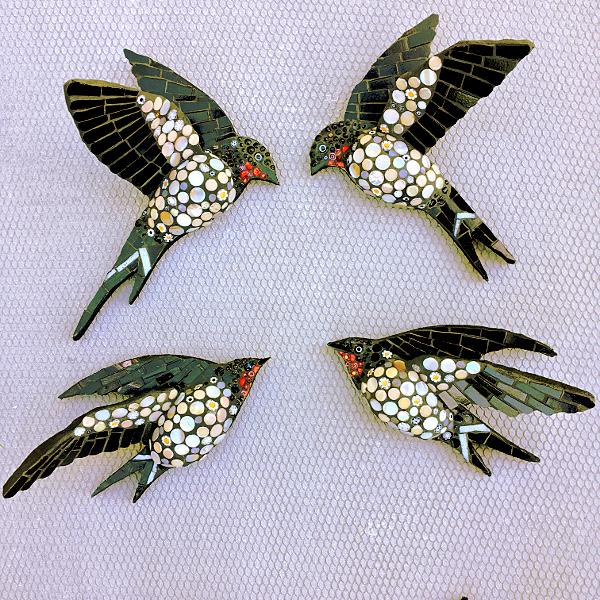four mosaic swallows